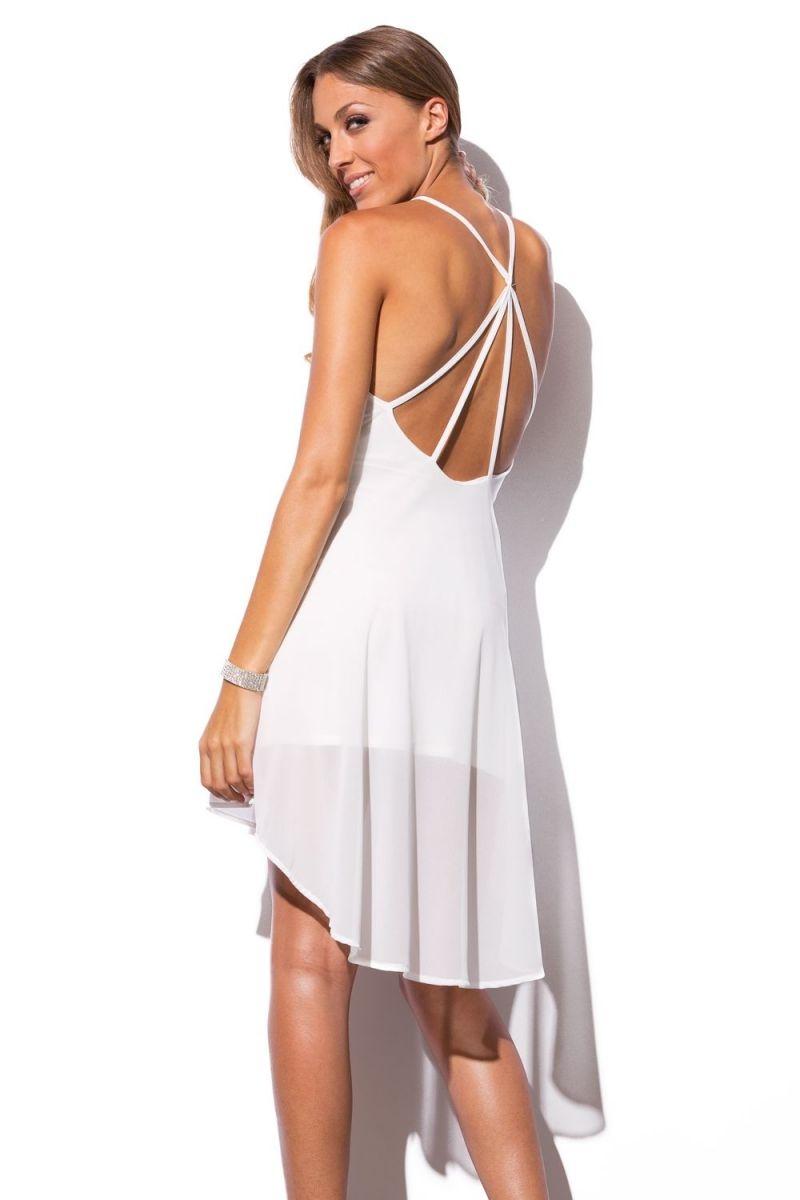 Vestido blanco corto con piedras